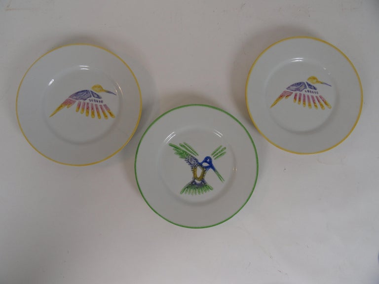 French Set of Ten Limoges Painted Plates For Sale