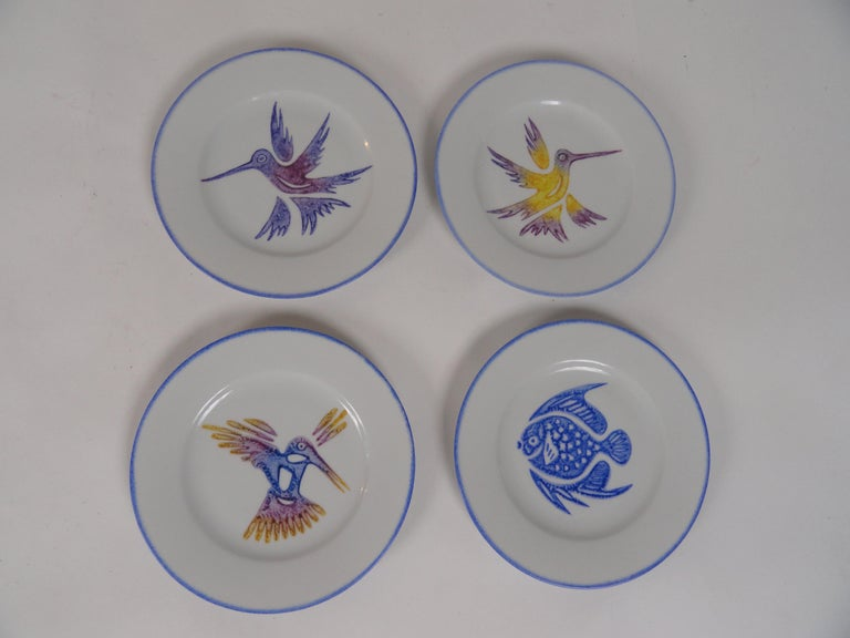 Set of Ten Limoges Painted Plates In Excellent Condition For Sale In West Palm Beach, FL