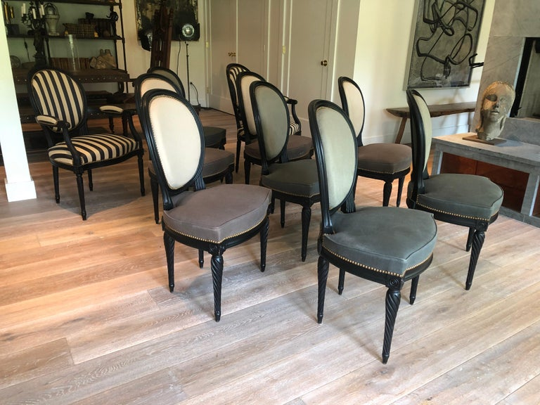 French Set of Eight Louis XVI Style Dining Chairs For Sale