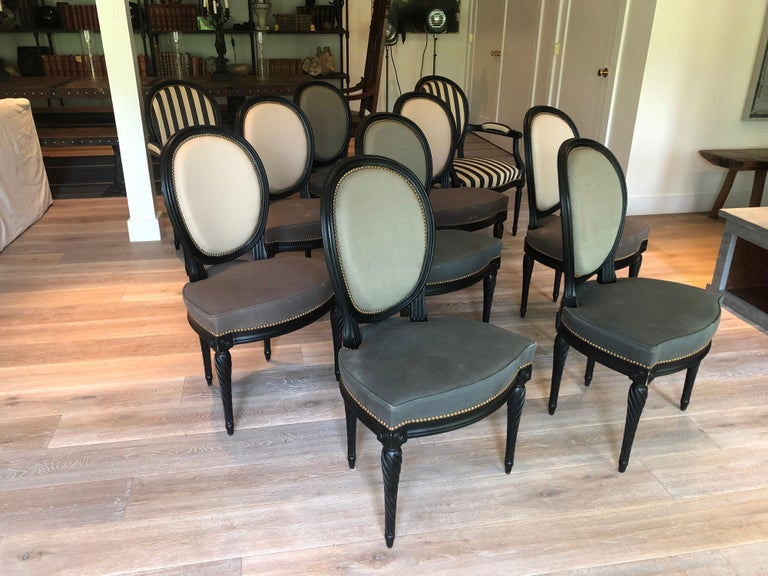 Set of Eight Louis XVI Style Dining Chairs In Good Condition For Sale In Stockton, NJ
