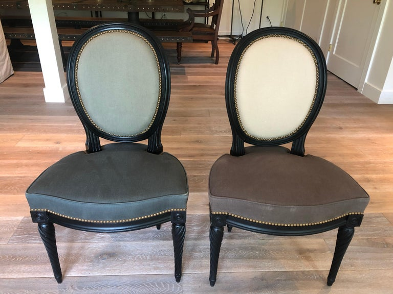 Contemporary Set of Eight Louis XVI Style Dining Chairs For Sale