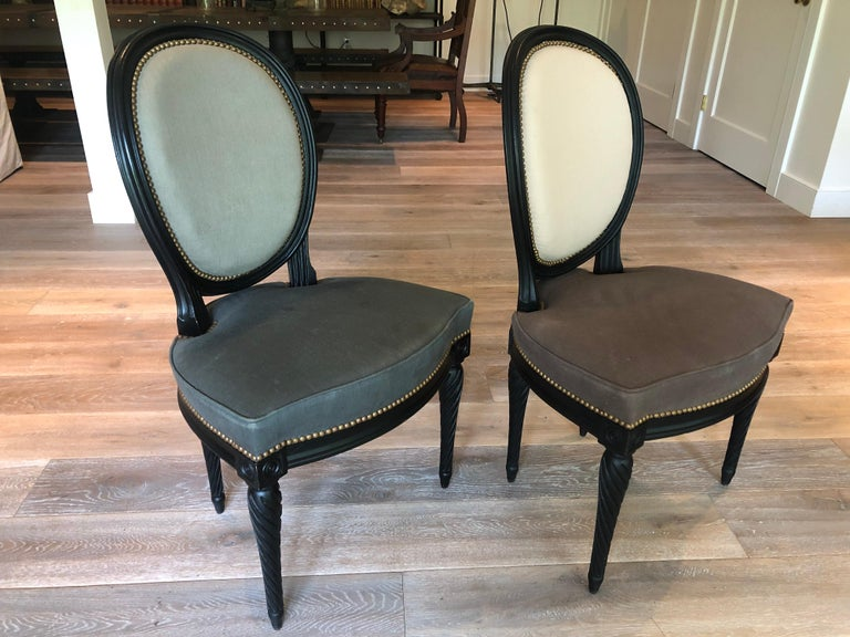 Upholstery Set of Eight Louis XVI Style Dining Chairs For Sale