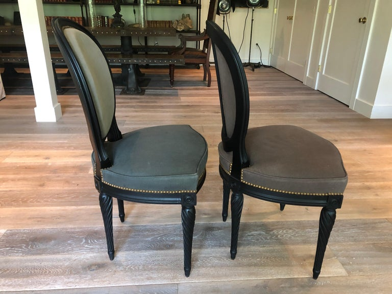 Set of Eight Louis XVI Style Dining Chairs For Sale 1