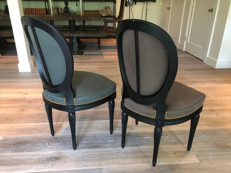 Set of Eight Louis XVI Style Dining Chairs For Sale 2