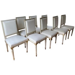 Set of Ten Louis XVI Style Painted & Parcel-Gilt Dining Chairs