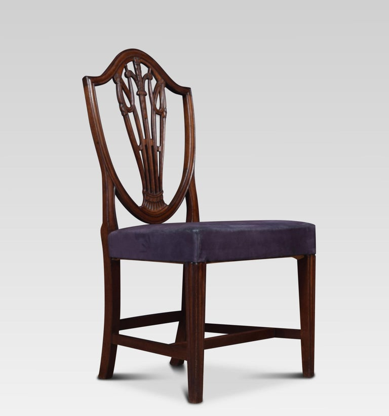 British Set of Ten Mahogany Shield Back Dining Chairs For Sale
