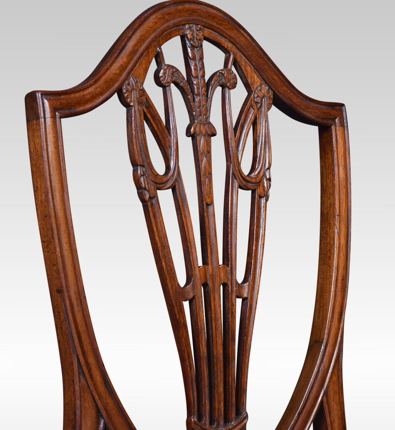 Set of Ten Mahogany Shield Back Dining Chairs For Sale 1