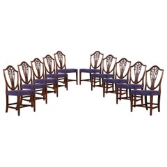 Set of Ten Mahogany Shield Back Dining Chairs