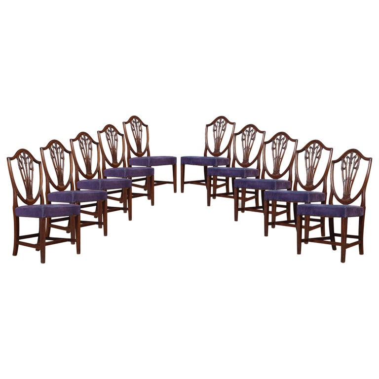 Set of Ten Mahogany Shield Back Dining Chairs For Sale