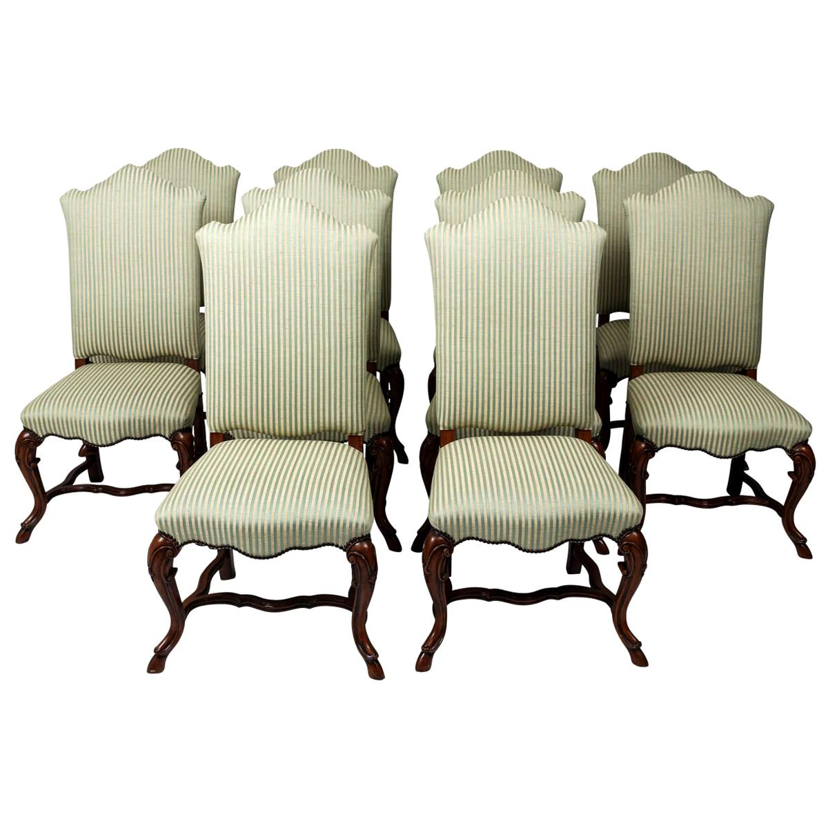 Set of Ten Mahogany Upholstered Side Chairs