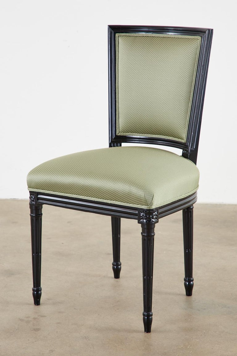 Set of Ten Maison Jansen Louis XVI Style Lacquered Dining Chairs For Sale 4
