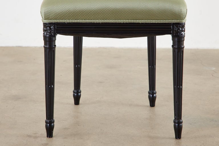 Set of Ten Maison Jansen Louis XVI Style Lacquered Dining Chairs For Sale 10