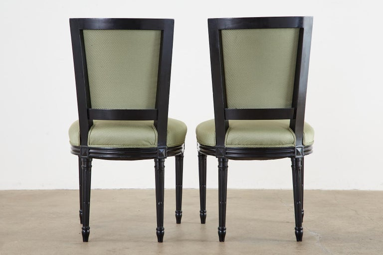 Set of Ten Maison Jansen Louis XVI Style Lacquered Dining Chairs For Sale 14