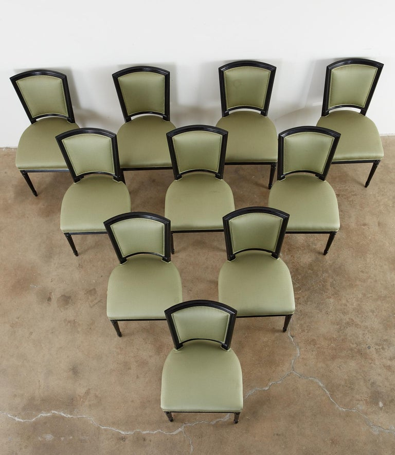 French Set of Ten Maison Jansen Louis XVI Style Lacquered Dining Chairs For Sale