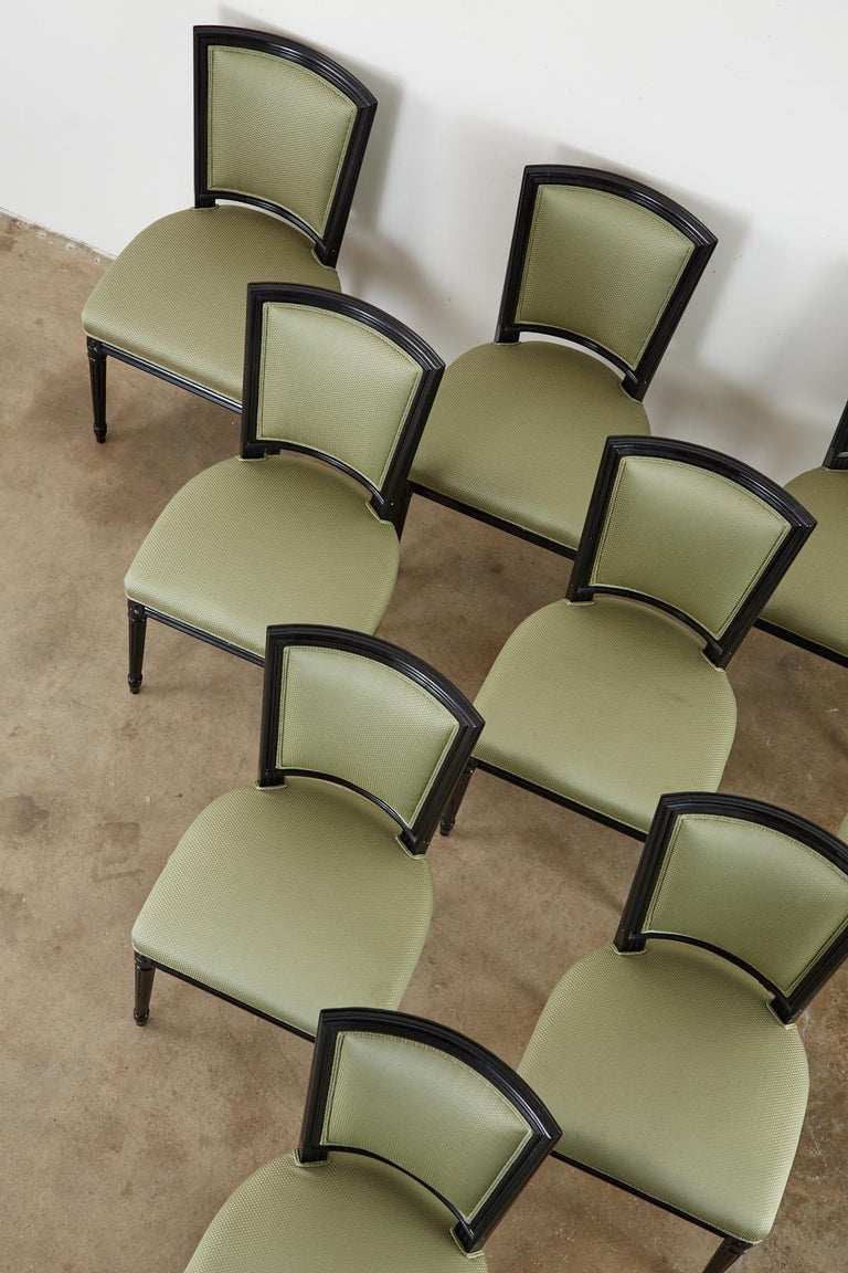 Set of Ten Maison Jansen Louis XVI Style Lacquered Dining Chairs In Good Condition For Sale In Oakland, CA
