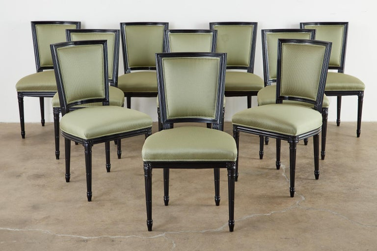 20th Century Set of Ten Maison Jansen Louis XVI Style Lacquered Dining Chairs For Sale