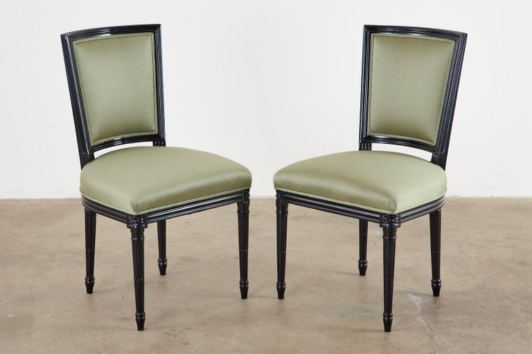 Wood Set of Ten Maison Jansen Louis XVI Style Lacquered Dining Chairs For Sale