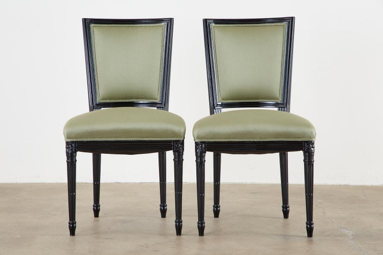 Set of Ten Maison Jansen Louis XVI Style Lacquered Dining Chairs For Sale 1