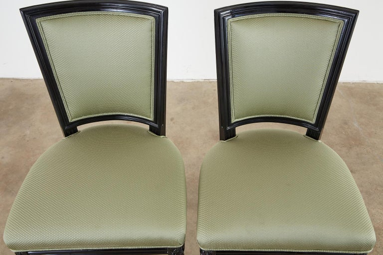 Set of Ten Maison Jansen Louis XVI Style Lacquered Dining Chairs For Sale 2