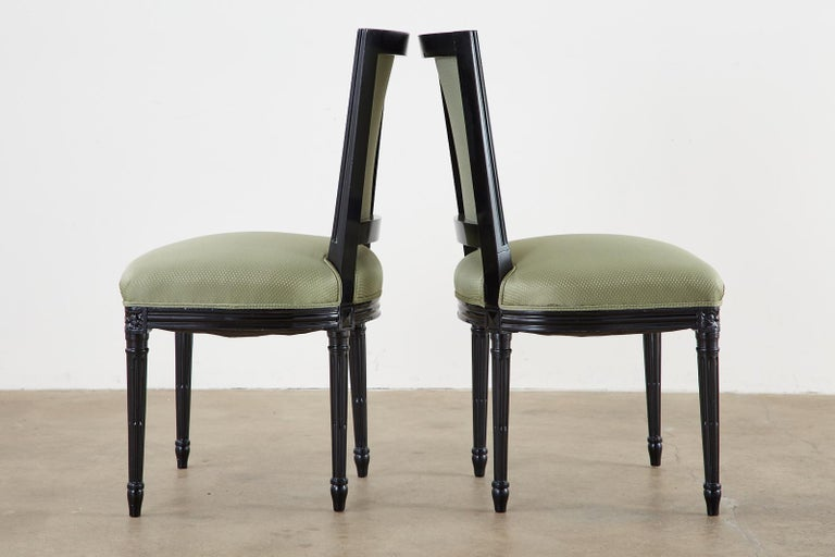Set of Ten Maison Jansen Louis XVI Style Lacquered Dining Chairs For Sale 3
