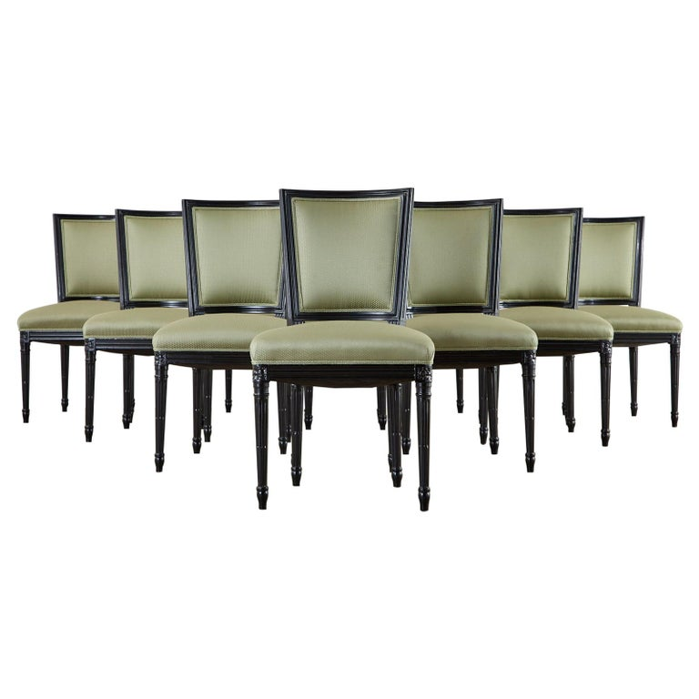 Set of Ten Maison Jansen Louis XVI Style Lacquered Dining Chairs For Sale
