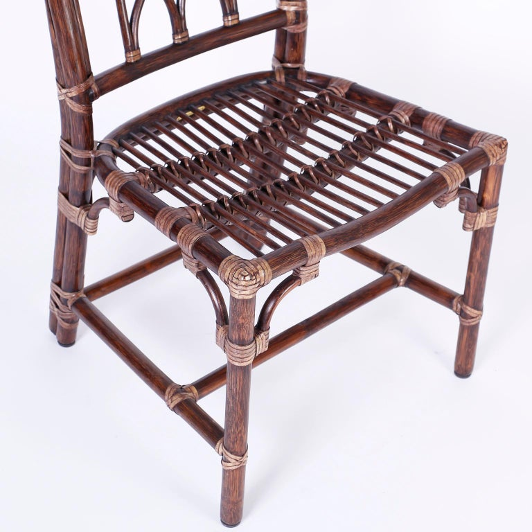 Set of Ten McGuire Rattan Dining Chairs For Sale 4