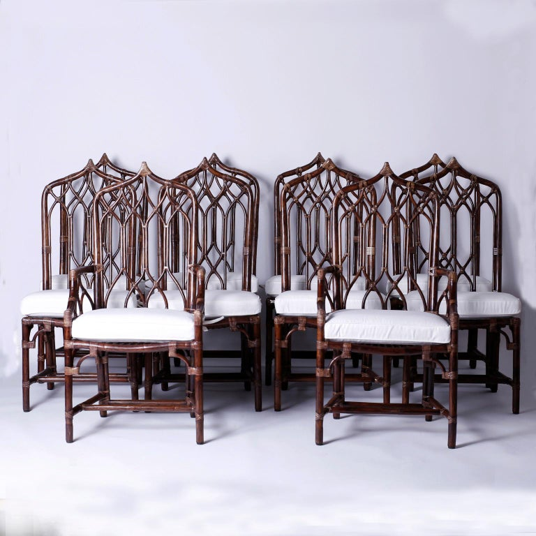 Set of Ten McGuire Rattan Dining Chairs For Sale 5