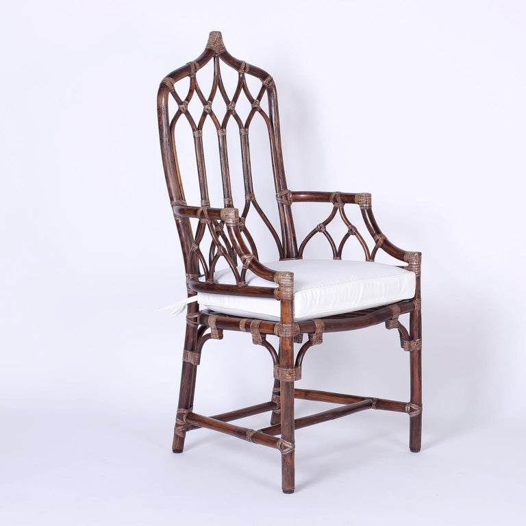 British Colonial Set of Ten McGuire Rattan Dining Chairs For Sale