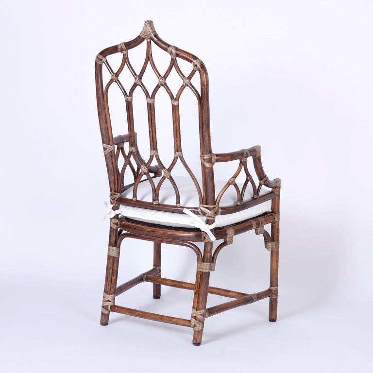 American Set of Ten McGuire Rattan Dining Chairs For Sale
