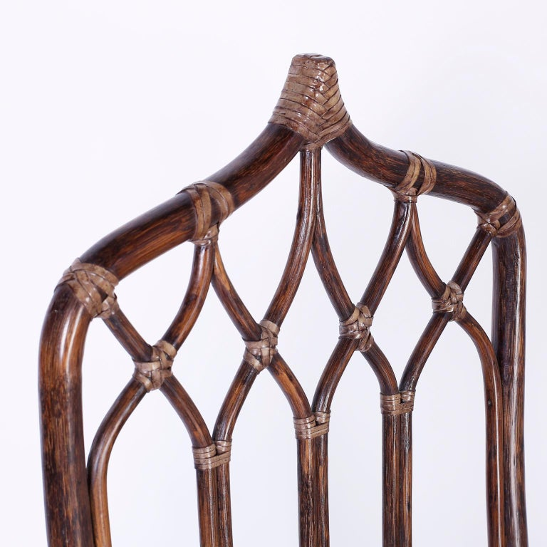 Set of Ten McGuire Rattan Dining Chairs In Good Condition For Sale In Palm Beach, FL