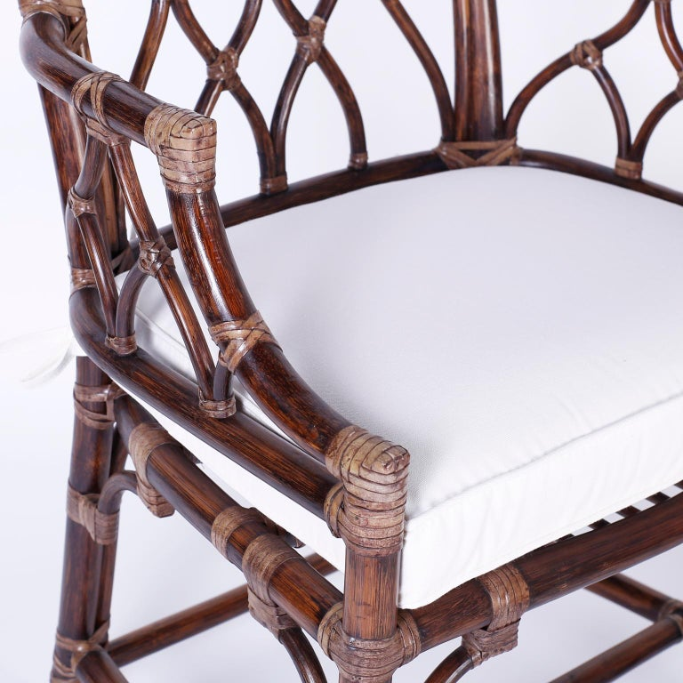 20th Century Set of Ten McGuire Rattan Dining Chairs For Sale