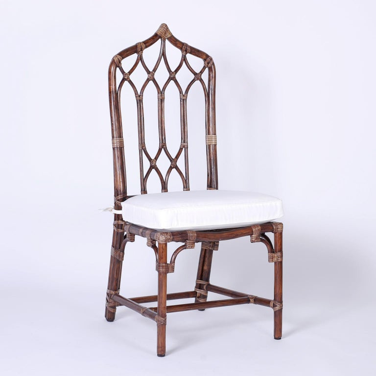 Set of Ten McGuire Rattan Dining Chairs For Sale 2