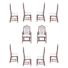Set of Ten McGuire Rattan Dining Chairs