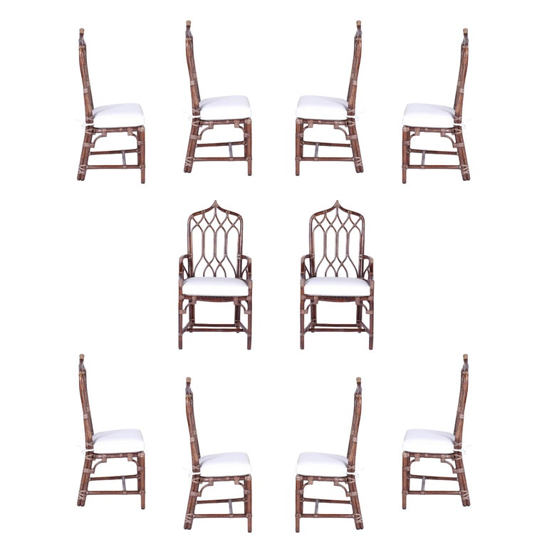Set of Ten McGuire Rattan Dining Chairs For Sale