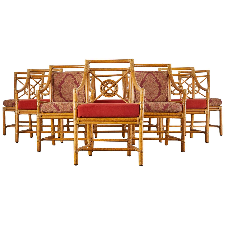 Set of Ten McGuire Rattan Target Design Dining Chairs
