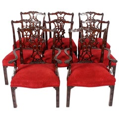 Set of Ten Mid-19th Century Chinese Chippendale Dining Chairs of Fine Quality