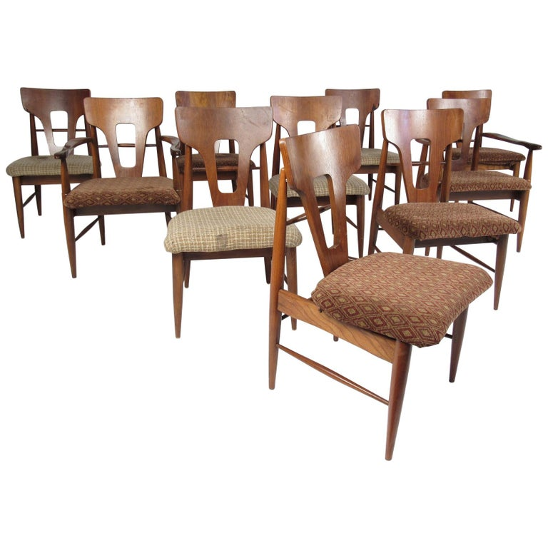 Set of Ten Mid-Century Modern Walnut Dining Chairs For Sale
