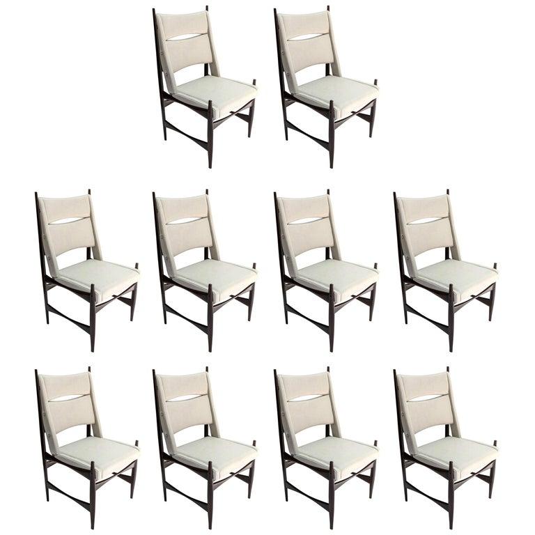 Set of Ten Midcentury Brazilian Dining Chairs in Beige Linen