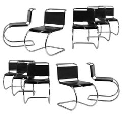 Set of Ten Mies van der Rohe for Knoll Mr Dining Chairs