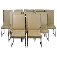 Set of Ten Milo Baughman Mid-Century Modern Chrome High Back Dining Chairs