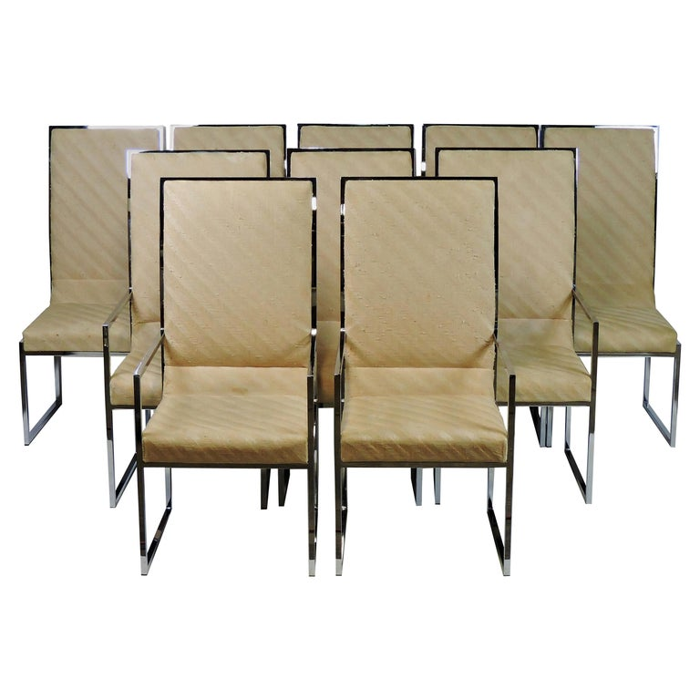 Set Of Ten Milo Baughman Mid Century Modern Chrome High Back Dining Chairs