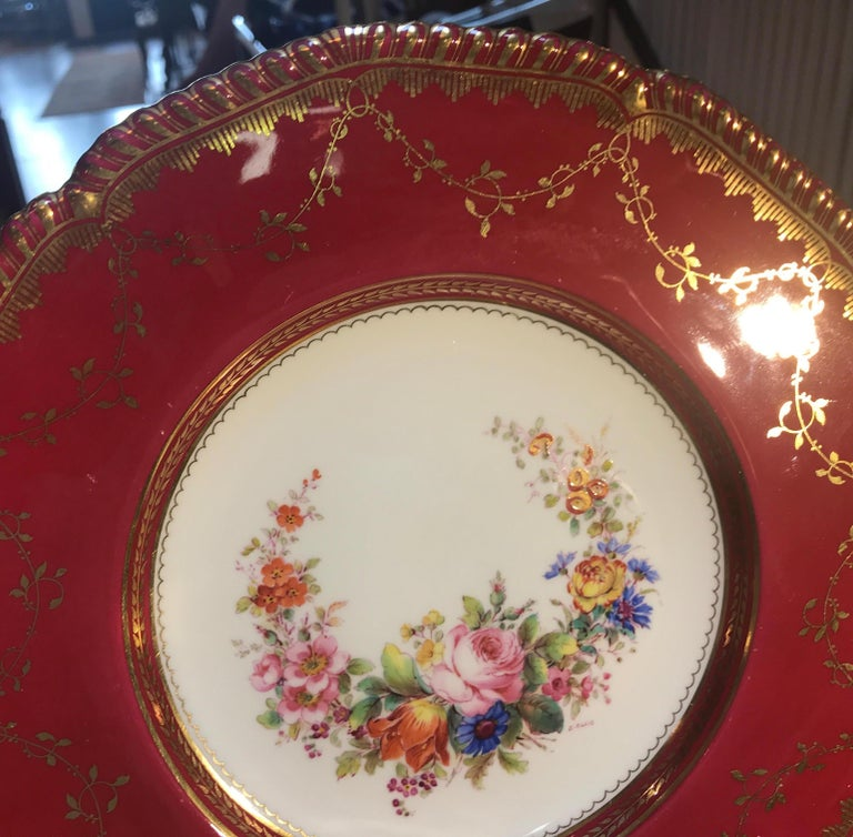 Set of Ten Minton Hand-Painted Service Dinner Plates In Excellent Condition For Sale In Lambertville, NJ