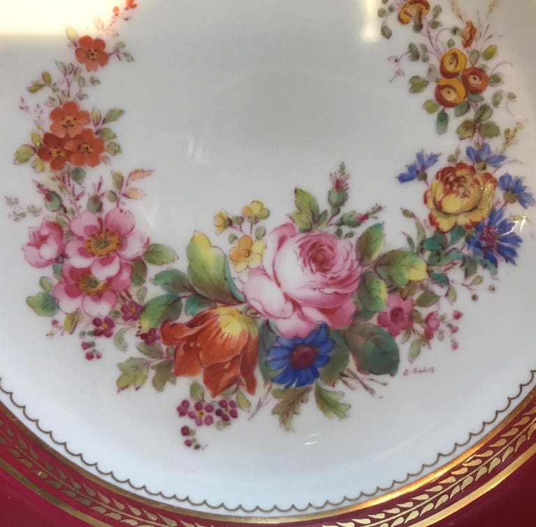 Mid-20th Century Set of Ten Minton Hand-Painted Service Dinner Plates For Sale