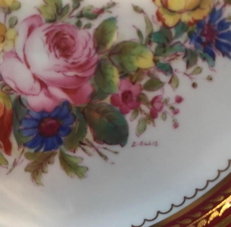 Porcelain Set of Ten Minton Hand-Painted Service Dinner Plates For Sale