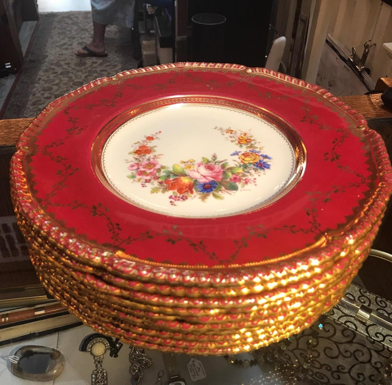Set of Ten Minton Hand-Painted Service Dinner Plates For Sale 1