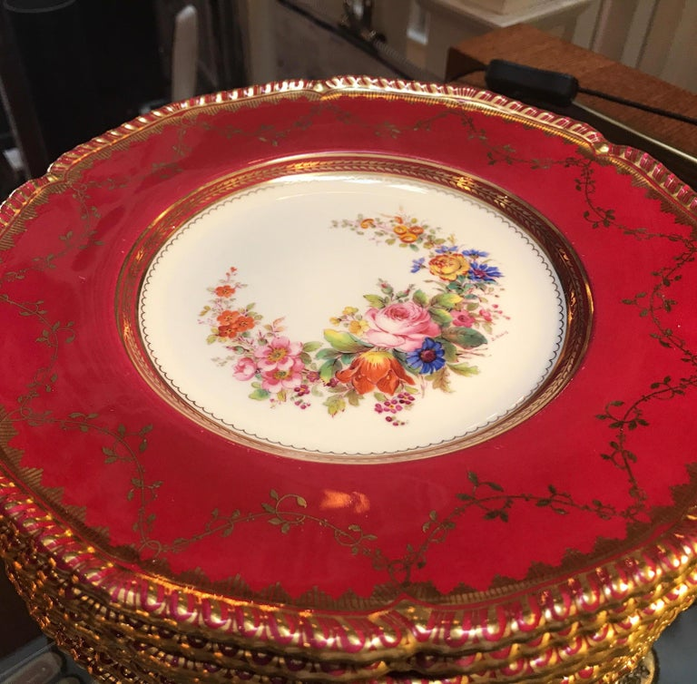 Set of Ten Minton Hand-Painted Service Dinner Plates For Sale 2