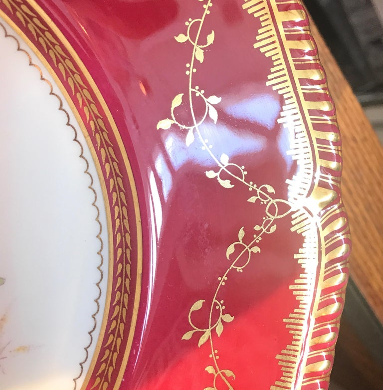 Set of Ten Minton Hand-Painted Service Dinner Plates For Sale 3