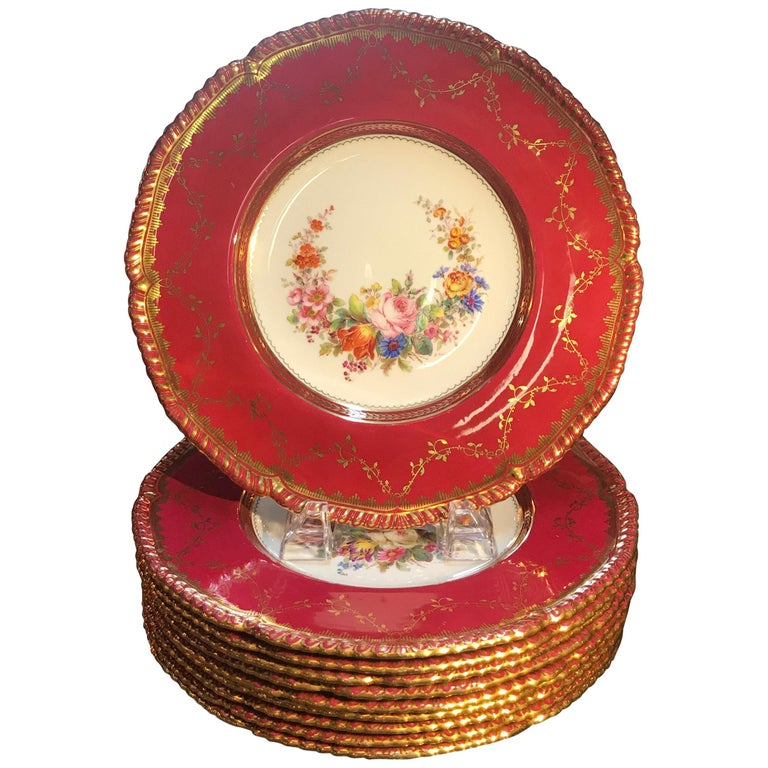 Set of Ten Minton Hand-Painted Service Dinner Plates For Sale