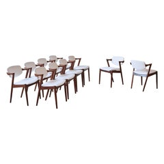 Set of Ten Model 42 Rosewood Dining Chairs by Kai Kristiansen, Denmark, 1960s