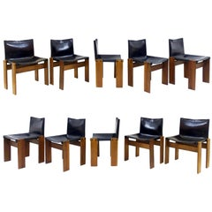 """Set of Ten """"Monk"""" Chairs by Afra and Tobia Scarpa for Molteni, 1970s, Italy"""